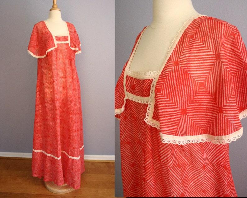 0c6dd6c1fc7a Vintage 60s HAWAIIAN Dress 70s Maxi Dress Capelet Muu Muu | Etsy