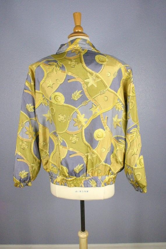 Vintage 80s Bomber Jacket 90s SILK Jacket Scarf P… - image 5