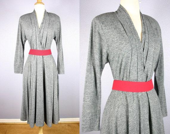 80s Vintage Secretary Dress Women/'s Day Dress Shirt Waist Fabric Covered Belt Abalone Button Down 50s Style Mad Men Midi Dress