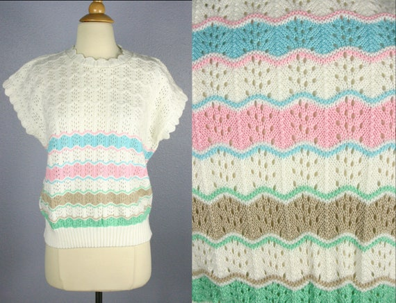Vintage KAWAII Sweater 80s Pastel Stripe Sweater S