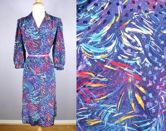 Vintage 70s Dress 1970s Secretary Dress PLUS Size Dress MOD Dress Shirt  Waist Dress Avant Garde Atomic Op Art Midi Novelty FIREWORK Print