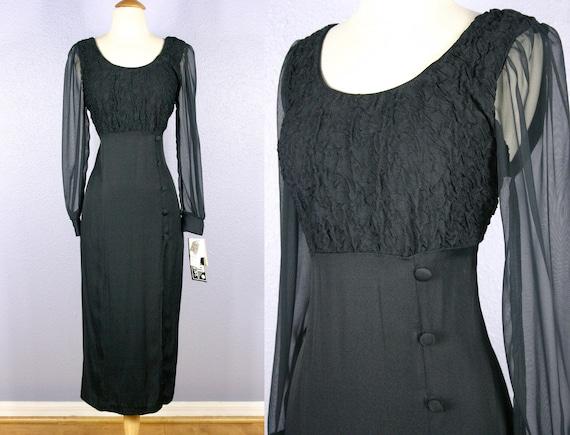 Vintage 80s Black Dress GOTH Dress Grunge Dress Bo
