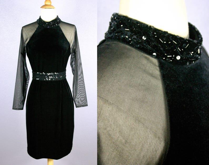 87e7cc9a2905 Vintage Black Velvet Dress 90s Cocktail Dress Goth Dress | Etsy