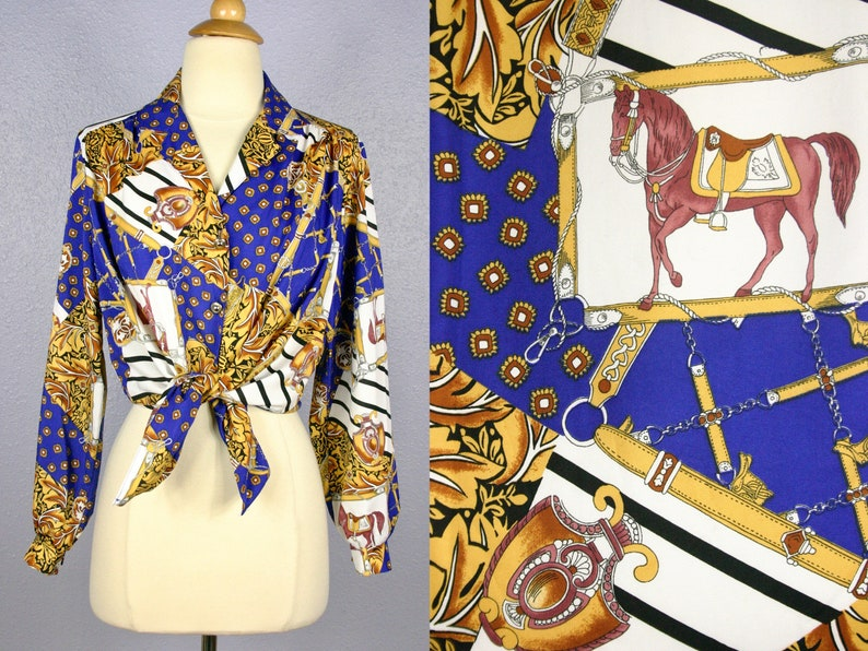 Vintage EQUESTRIAN Blouse Secretary Blouse Hip Hop Swag Hunting Polo Horseback Riding Country Western Rodeo Status DRESSAGE Horse /& Bridle