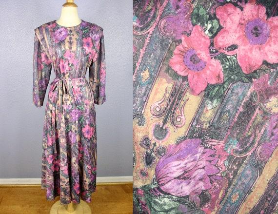 Vintage 60s Dress PLUS SIZE Dress 1960s Secretary Dress MOD Dress 70s  Floral Print Dress Day Dress Lane Bryant Dress Belted Dress Watercolor