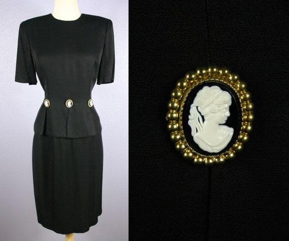 Vintage CAMEO Dress 1980s Cocktail Dress Goth Dres