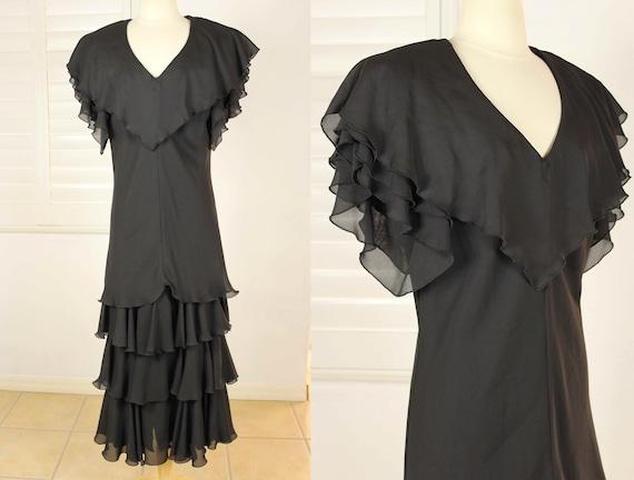 Vintage 80s Cocktail Dress PROM Dress Tiered RUFFL