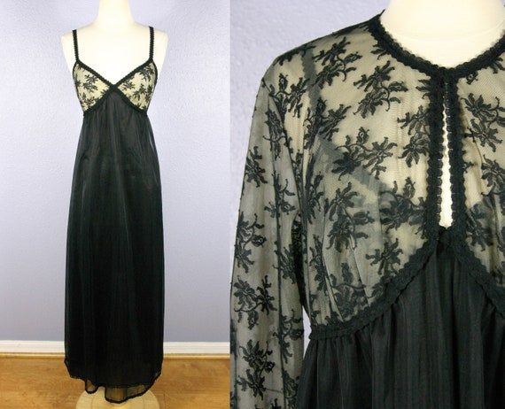 Vintage Black Peignoir Set 1950s Vanity Fair Linge