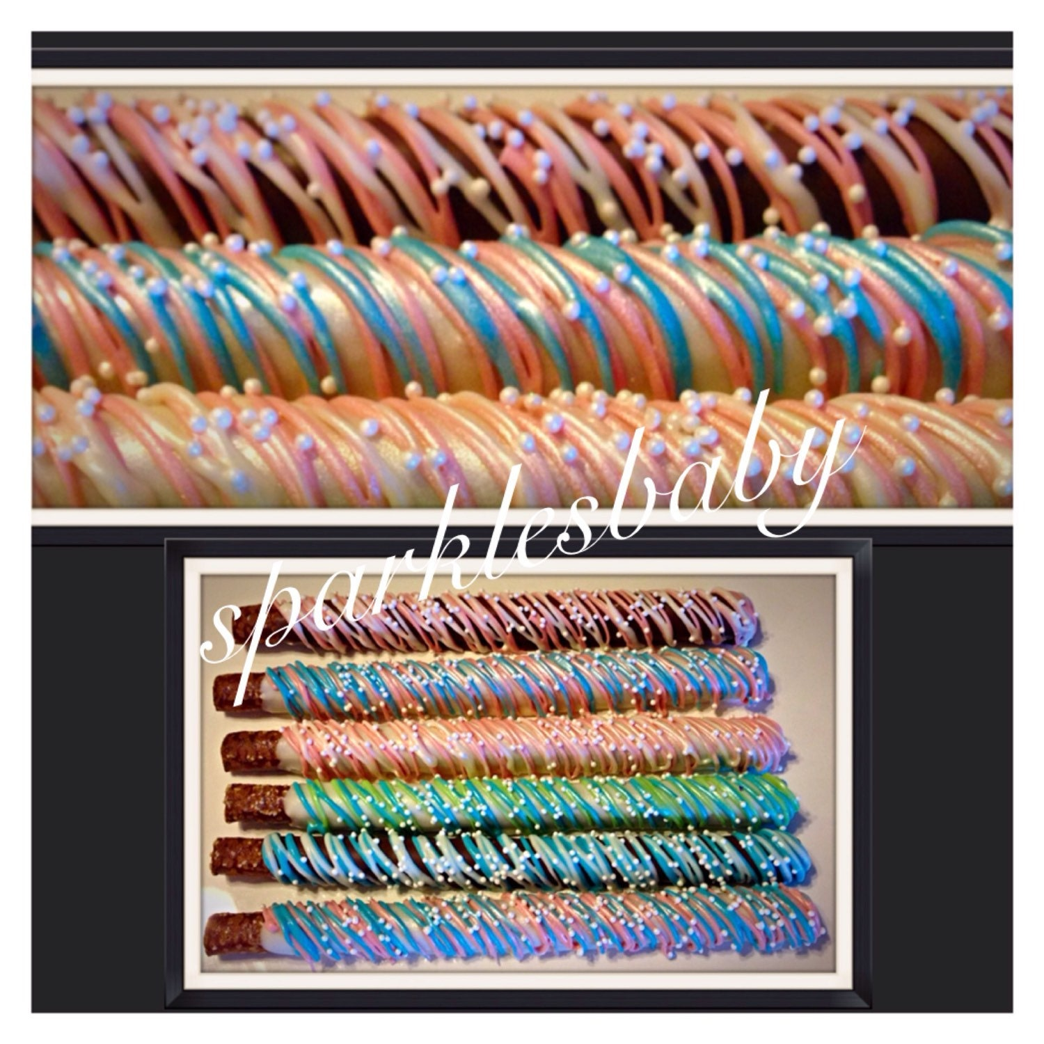 Baby Shower Pretzel Blue And Pink Baby Shower Chocolate Covered