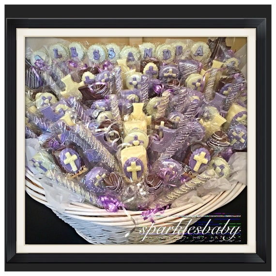 Communionbaptism sparklesbaby communion christening religious chocolate basket commack pickup only negle Image collections