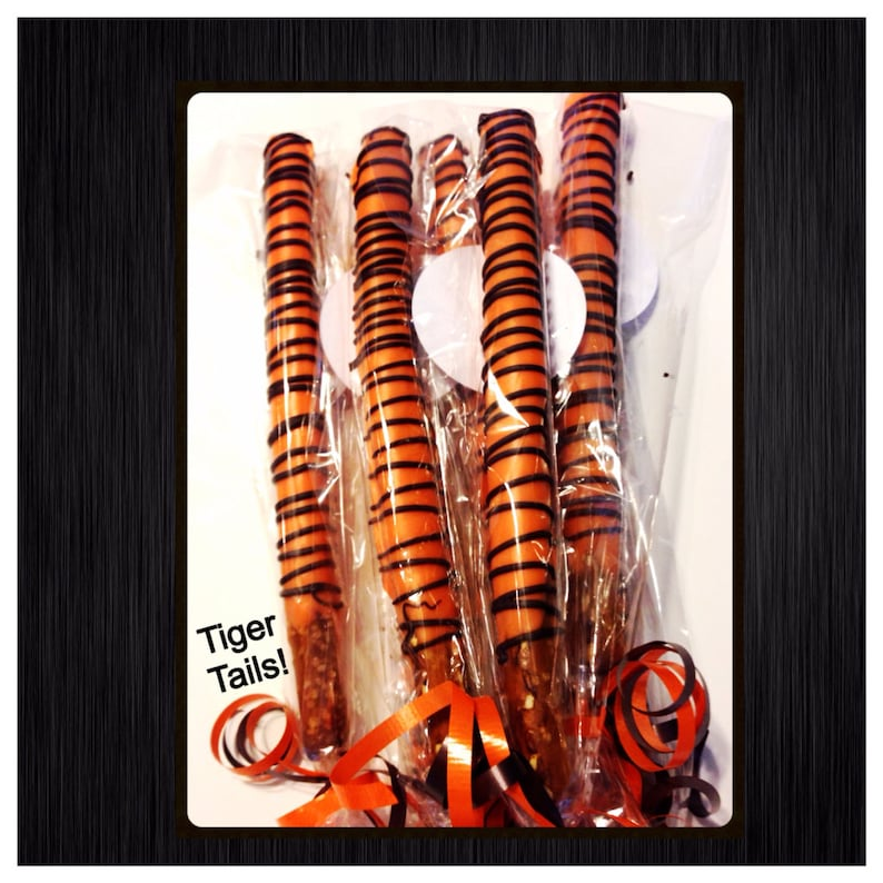 24 Tiger themed Chocolate Covered Pretzels  Tiger stripes set image 0