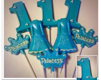 1st Birthday Chocolate Lollipops, Dress lollipops, number 1, princess set of 10 assorted