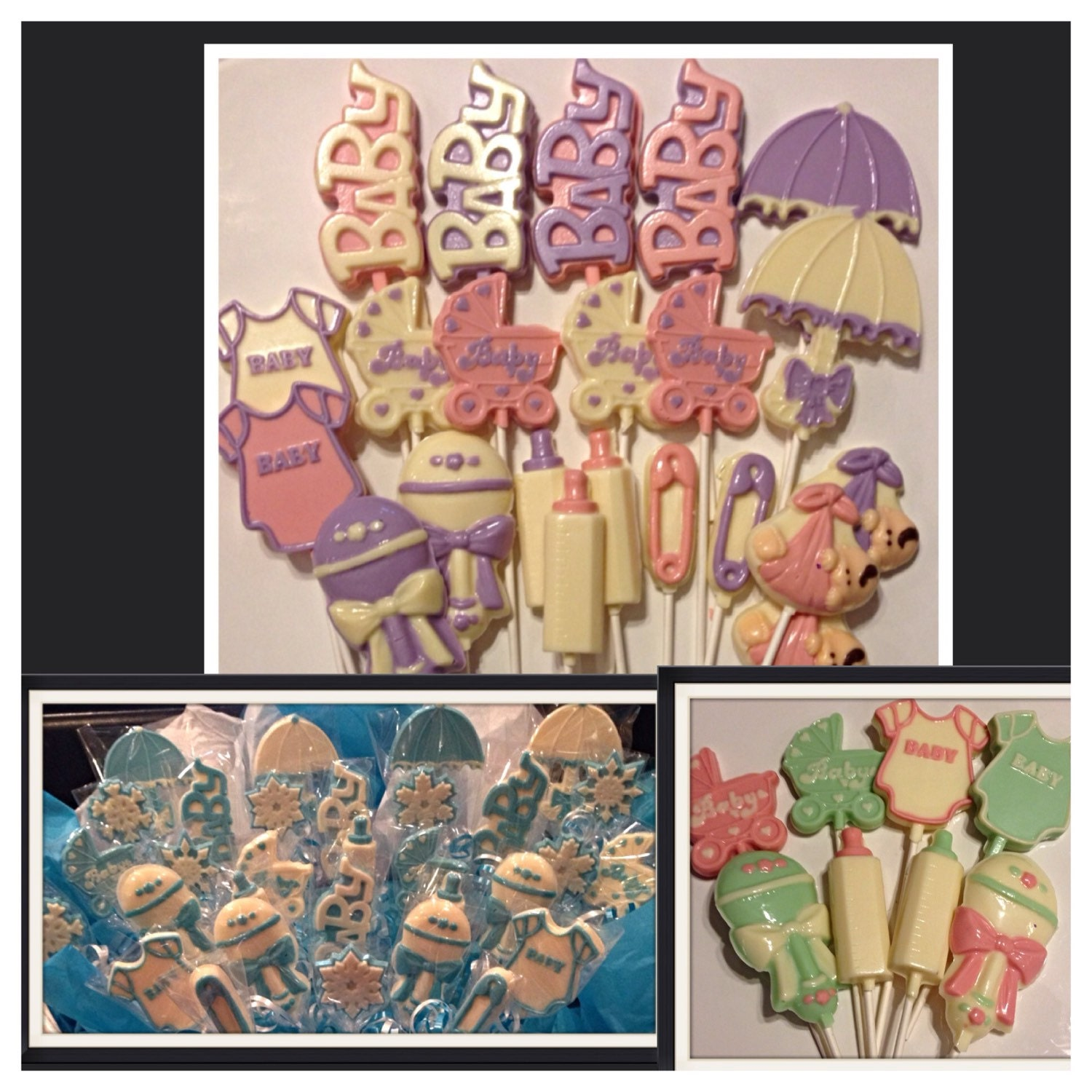 Baby Shower Chocolate Lollipops Custom Baby Shower Centerpiece And