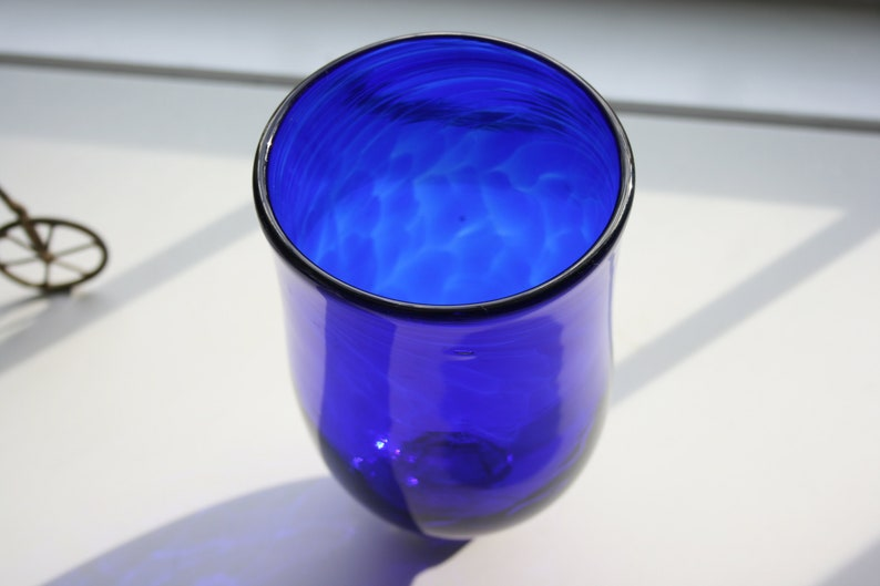 Deep Royal Blue Candle Holder Lighting StudioAtPennyLane Minimalist Hand Blown Glass Votive Cobalt Blue Tulip Vase Boho Handblown