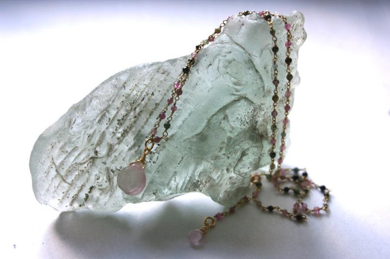 TheStudioAtPennyLane Semi-Precious Gemstones Delicate Pendant Necklace Long Necklace Fresh Multi-Color Tourmaline and Pink Quartz