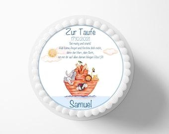 Cake Toy Baptism Ark Baptismal Slogan Fondant Desired Name 20 cm Diameter