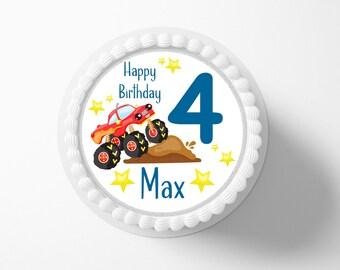 Cake toy hanger Monstertruck Fondant Desired name 20 cm diameter