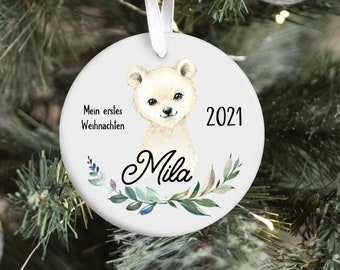 Christmas pendant polar bear, my first Christmas, pendant ceramics, Christmas decorations Christmas tree decorations, personalized