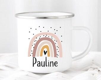 Children's Mug Rainbow Wish Name Enamel or Ceramic Mug Kids Cup