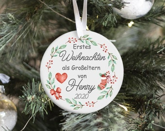 Christmas pendant personalized, ceramic pendant, first Christmas grandparents, Christmas decorations Christmas tree ornaments, Christmas ball