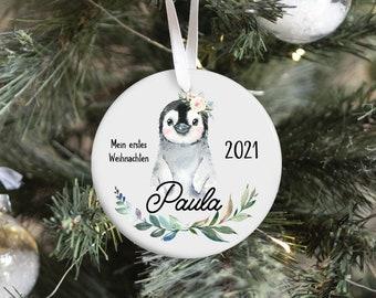 Christmas pendant penguin personalized, my first Christmas, pendant ceramics, Christmas decorations Christmas tree decorations, Christmas ball