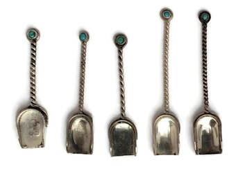 Five Navajo Silver Spoons, Vintage Sterling Souvenir Salts With Bezel Set Turquoise