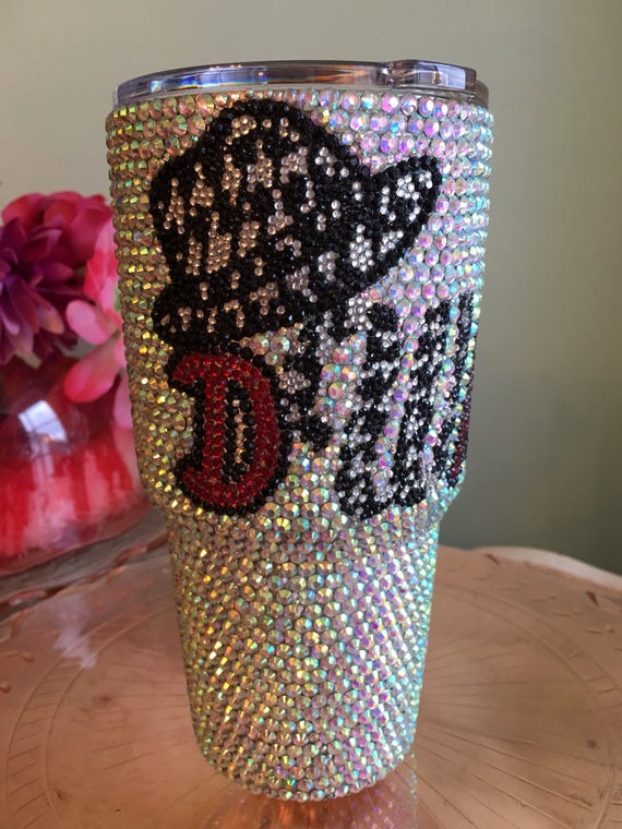 Rhinestone 30 oz Yeti Rambler with Collegiate Logo Front and Back