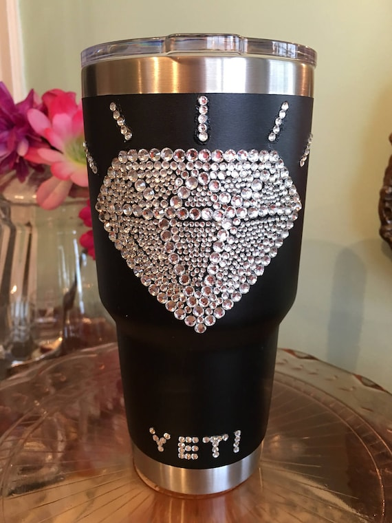 Yeti Rambler 30 oz Black with Rhinestone Name