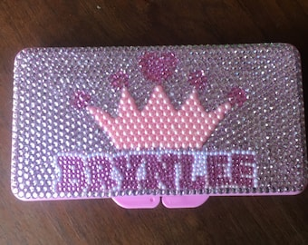 Rhinestone Princess with Crown Baby Wipe Case