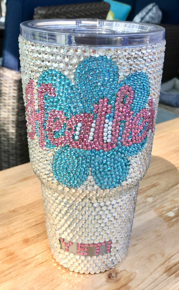 Rhinestone Yeti Rambler 30 oz  with Rhinestone Flower and Name