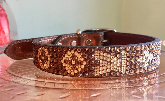 Rhinestone Louis Vuitton logo Dog Collar