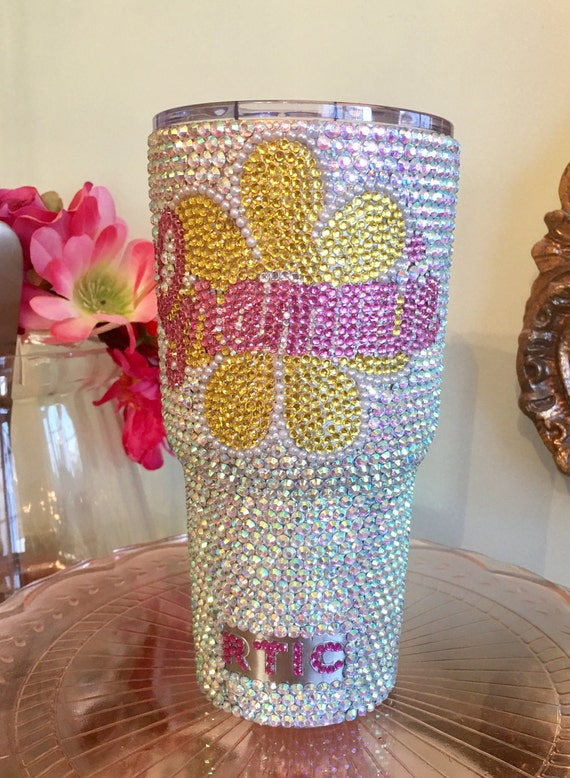 Rhinestone Yeti Rambler 30 oz or Rtic with Rhinestone Flower and Name