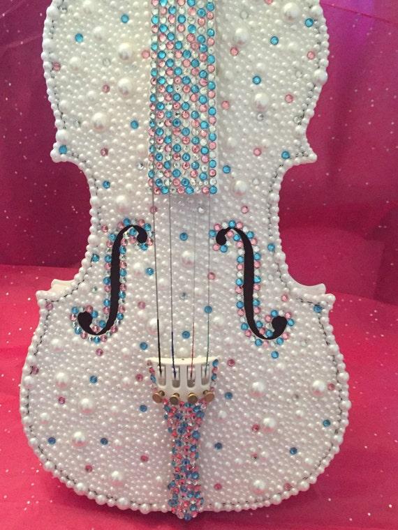 Rhinestone and Pearl Embellished Violin