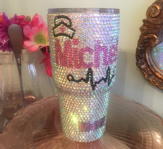 Rhinestone Yeti Rambler 30 oz with Nursing Cap and Stethoscope with Name/Monogram