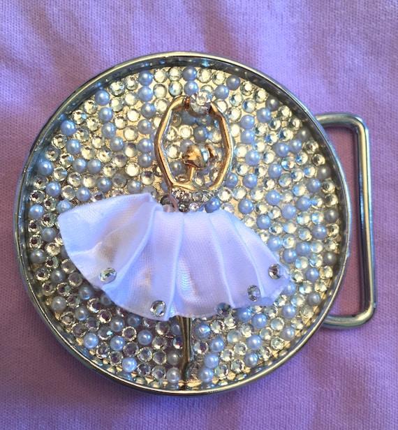 Rhinestone Ballerina Belt Buckle
