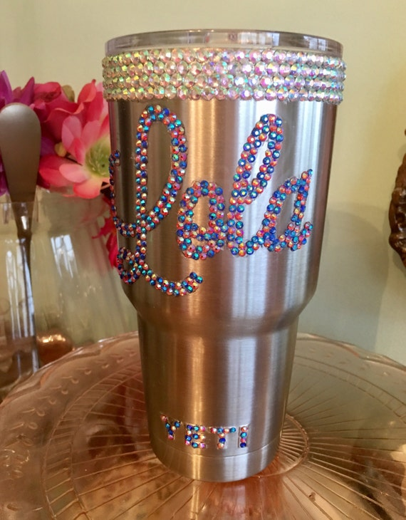 Yeti Rambler 30 oz with Rhinestone trim and Name   Choose your colors