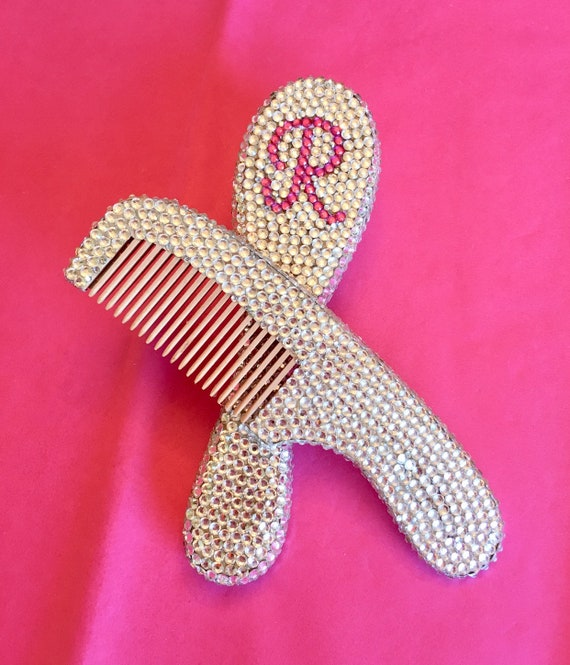 Rhinestone Wood baby comb and brush set with Personalization