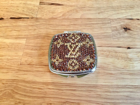Rhinestone Compact Mirror with Louis Vuitton Logo Look
