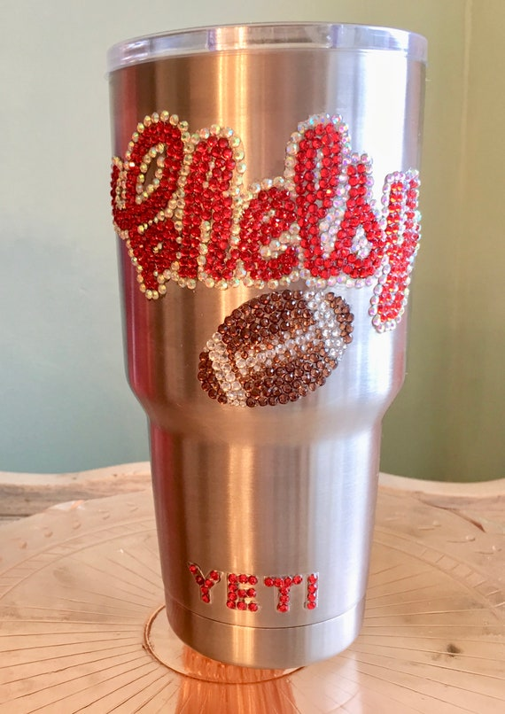 Yeti Rambler Tumbler 30 oz with Rhinestone Name and Football