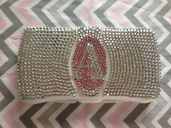 Stunning travel rhinestone diaper wipes case with rhinestones.   Custom with personalization.