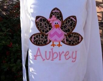 Girl football turkey applique - Thanksgiving Turkey Applique Shirt - girl's thanksgiving shirt