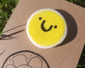 Handpainted Ceramic Brooch - Happy Smiley Sunshine Face - Small