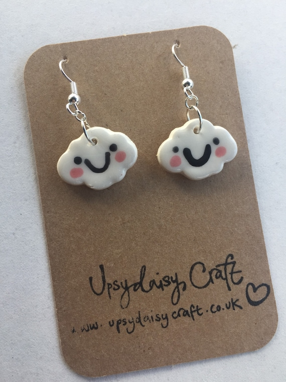 Ceramic Smiley Face Clouds - with rosy cheeks -  Dangly Earrings