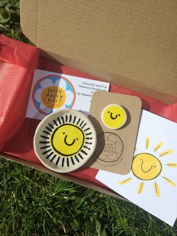 Sunshine Post Box - Happy Little Dish and Brooch