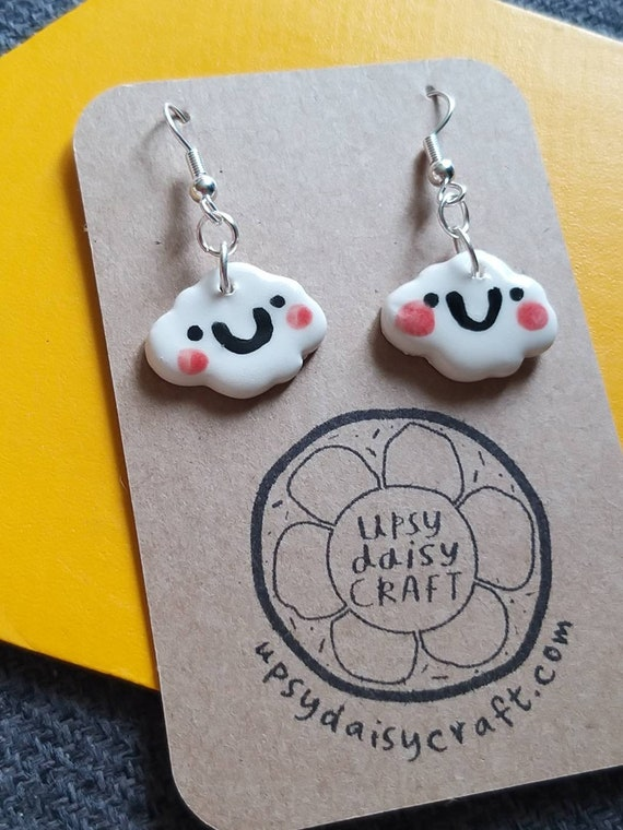 Ceramic Smiley Face Clouds - with rosy cheeks -  Dangly Earrings SPECIAL PRICE