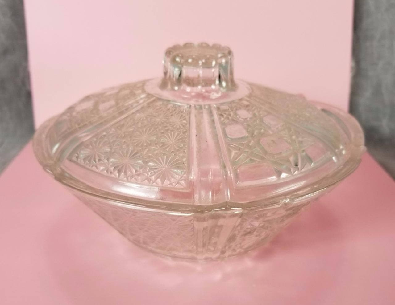 Clear Daisy & Button Candy Nut Dish 3 Sections Anchor