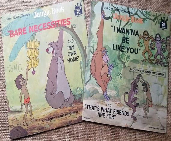 Walt Disney S Jungle Book 2 Vinyl Records 45 Rpm 1967 I Etsy