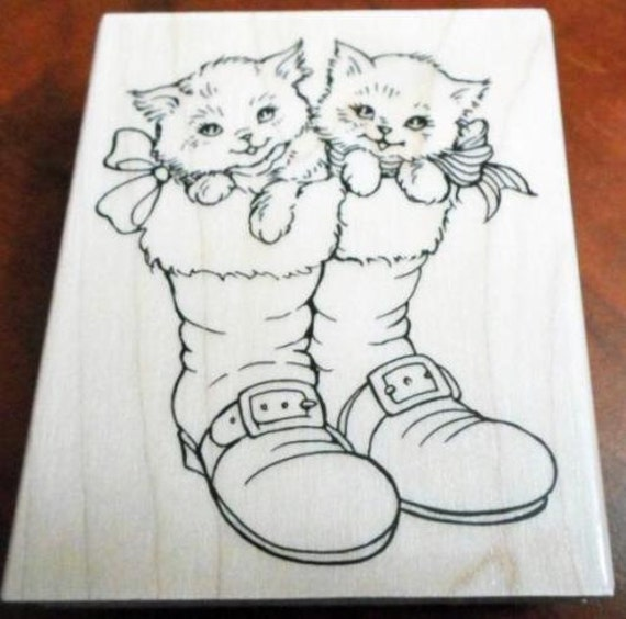 Christmas Boots Drawing.Christmas Kittens In Boots Rubber Stamp Santa Boots With Buckles And Bows Stampendous Code 5