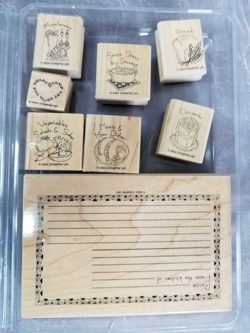 7 Rubber Stamps What/'s For Dinner /& 1 Art from the Heart Stampin Up Wood Mounted Arts and Crafts Scrapbook CODE 3