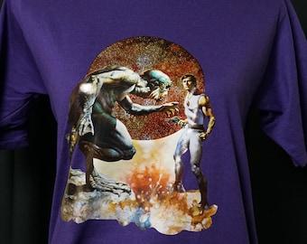 Boris Vallejo Sci-Fi Glitter Vintage Iron-On T-Shirt